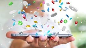 De zakenmanholding en wat betreft drijvende 3D geneeskundepillen trekt uit Royalty-vrije Stock Foto
