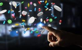 De zakenmanholding en wat betreft drijvende 3D geneeskundepillen trekt uit Stock Foto