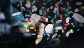 De zakenmanholding en wat betreft drijvende 3D geneeskundepillen trekt uit Royalty-vrije Stock Foto's