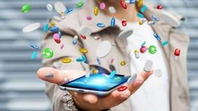 De zakenmanholding en wat betreft drijvende 3D geneeskundepillen trekt uit Stock Foto's