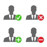 De zakenmanpictogrammen met voegen, schrappen, keuren & blokkeren tekens toe goed Stock Foto