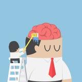 De zakenmanwas en maakt de hersenen van zijn collega schoon royalty-vrije illustratie