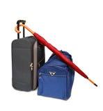 De zakken en de paraplu van de reis Stock Afbeeldingen