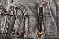 De zakken en de ritssluiting van jeans Royalty-vrije Stock Fotografie