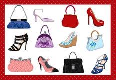 De zakken en de schoenen van dames Stock Afbeeldingen