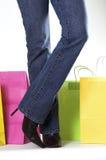 De zakken van de vrouw en het winkelen Stock Afbeeldingen