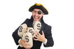 De zakken van het de holdingsgeld van de piraatzakenman op wit worden geïsoleerd dat Stock Fotografie