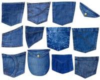 De zakken van Jeanes die op wit worden geïsoleerdA Stock Foto