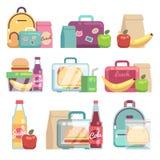 De zakken van schoolsnacks Gezond voedsel in de dozen vectorreeks van de jonge geitjeslunch royalty-vrije illustratie