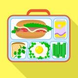 De zakpictogram van de dieetlunch, vlakke stijl stock illustratie