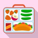 De zakpictogram van de lunchcontainer, vlakke stijl stock illustratie