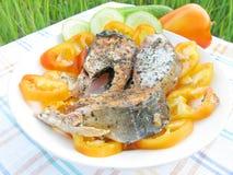 De zalmvissen van Griilled met groenten Royalty-vrije Stock Foto's