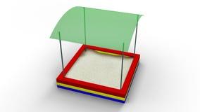 De zandbak met dak isoleerde 3d illustratie teruggeeft Stock Fotografie