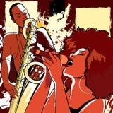 De zanger en de saxofonist van de jazz op grungeachtergrond Royalty-vrije Stock Afbeeldingen