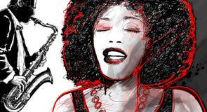 De zanger en de saxofoon van de jazz Stock Foto