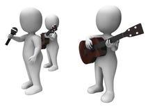 De zanger And Guitar Players toont het Overleg of Performin van de Stadiumband Stock Foto