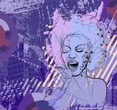 De zanger van de jazz op grungeachtergrond stock illustratie