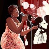 De zanger van de jazz op grungeachtergrond Stock Foto