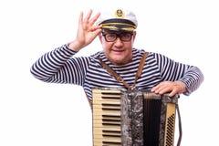 De zanger van de zeemansimpresario met muzikale instrumententrommel en harmonika royalty-vrije stock foto's