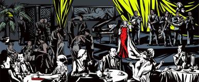 De zanger zingt in een restaurant Royalty-vrije Stock Afbeelding