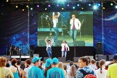 De zangers presteren op open Stock Afbeeldingen
