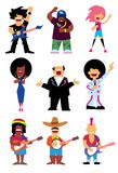 De zangers silhouetteren vastgestelde vector Stock Foto's