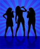 De zangers van de vrouw op de blauwe achtergrond Royalty-vrije Stock Afbeelding
