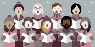 De zangers van de Kerstmishymne in de sneeuw stock illustratie