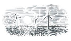 De zeeillustratie van windturbines Geïsoleerde vector, stock foto's