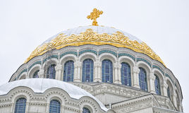 De Zeekathedraal van Sinterklaas in Kronstadt Royalty-vrije Stock Foto's