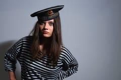 De zeeman van het meisje. Stock Afbeeldingen