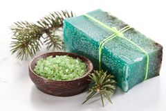 De zeep van de pijnboom met overzees-zout. Stock Afbeelding