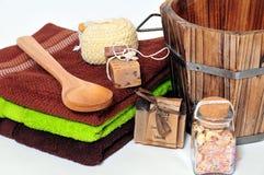 De zeep van Wellness van de sauna stock afbeeldingen