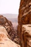 De zeer diepe canion in Petra Stock Foto's