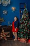 De zeer mooie vrouw bevindt zich dichtbij de open haard in de ruimte van het Nieuwjaar stock fotografie