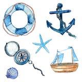 De zeevaartontwerpelementen overhandigen getrokken in waterverf Reddingsboei met kabel, kompas, anker, houten schip, stervissen e Stock Afbeeldingen