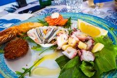 De zeevruchtenschotel mengde vissen, octopussalade, gebraden rode die garnalen, ansjovis met olijfolie wordt gekruid royalty-vrije stock foto's