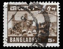 De zegel in Bangladesh wordt gedrukt toont Lalbagh-Fort ook als `-Fort Aurangabad ` wordt bekend - Oude Dhaka die stock afbeelding
