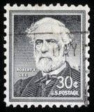 De zegel die in de Verenigde Staten van Amerika wordt gedrukt toont Robert E luwtes Royalty-vrije Stock Afbeeldingen