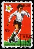 De zegel die door Belize wordt gedrukt, toont het Kampioenschap van de Wereldvoetbal, Spanje Royalty-vrije Stock Afbeelding
