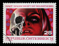 De zegel die door Oostenrijk wordt gedrukt, toont de Drugs Dood zijn Royalty-vrije Stock Foto