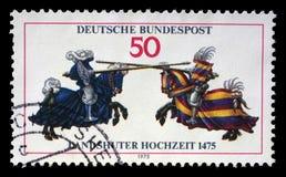 De zegel die in Duitsland wordt gedrukt toont Joust, van Jousting-Boek van William IV royalty-vrije stock fotografie