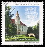 """De zegel die in Kroatië wordt gedrukt toont Valpovo †het """"Kasteel van hilleprand-Prandau normann-Ehrenfels Stock Foto"""