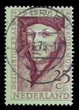 De zegel die in Nederland wordt gedrukt toont Desiderius Erasmus Stock Foto