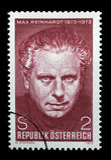 De zegel die in Oostenrijk wordt gedrukt, wordt gewijd aan de 100ste verjaardag van Max Reinhardt Royalty-vrije Stock Afbeeldingen