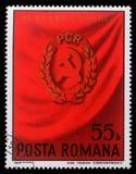 De zegel die in Roemenië wordt gedrukt toont 11de Roemeens Communistisch Partijcongres Royalty-vrije Stock Afbeeldingen