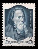 De zegel door Oostenrijk wordt gedrukt, toont Franz Stelzhamer dat Royalty-vrije Stock Afbeelding