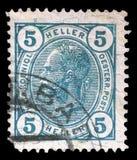 De zegel door Oostenrijk wordt gedrukt, toont Keizer Franz Joseph dat Stock Afbeelding