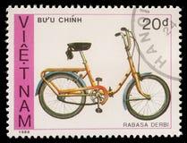 De zegel door Vietnam wordt gedrukt toont fiets Rabasa Derbi die royalty-vrije stock afbeelding