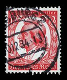 De zegel in Duitsland wordt gedrukt toont beeld van Johann Christoph Friedrich von Schiller dat Stock Foto